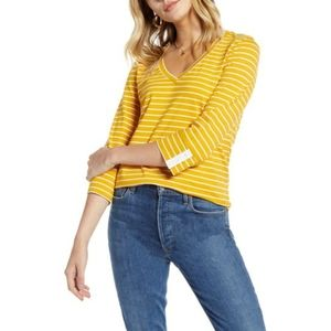 1901 | Lucie Striped V-Neck Top - Mustard Yellow